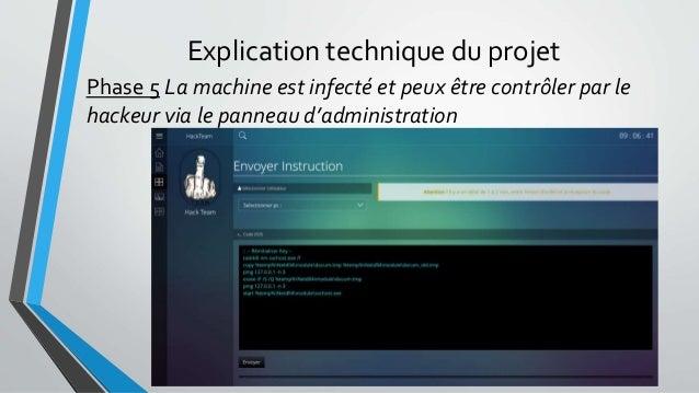 Explication technique du projet Phase 5 La machine est infecté et peux être contrôler par le hackeur via le panneau d'admi...