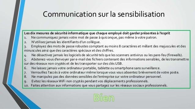 Communication sur la sensibilisation Les dix mesures de sécurité informatique que chaque employé doit garder présentes à l...