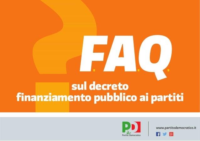 sul decreto finanziamento pubblico ai partiti