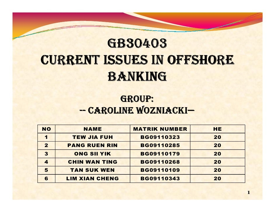GB30403CURRENT ISSUES IN OFFSHORE         BANKING                 GROUP:                    WOZNIACKI—        -- CAROLINE ...