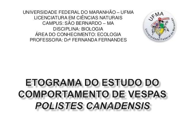 UNIVERSIDADE FEDERAL DO MARANHÃO – UFMA LICENCIATURA EM CIÊNCIAS NATURAIS CAMPUS: SÃO BERNARDO – MA DISCIPLINA: BIOLOGIA Á...
