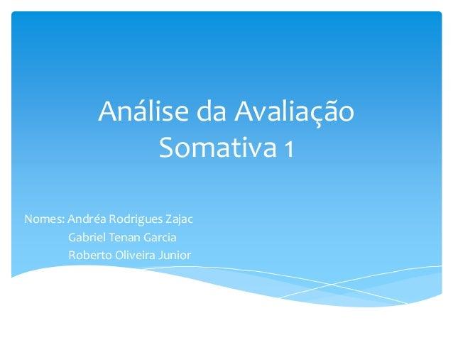Análise da Avaliação Somativa 1 Nomes: Andréa Rodrigues Zajac Gabriel Tenan Garcia Roberto Oliveira Junior