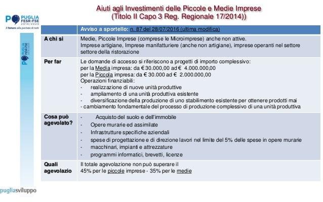 Aiuti agli Investimenti delle Piccole e Medie Imprese (Titolo II Capo 3 Reg. Regionale 17/2014)) Avviso a sportello: n. 87...
