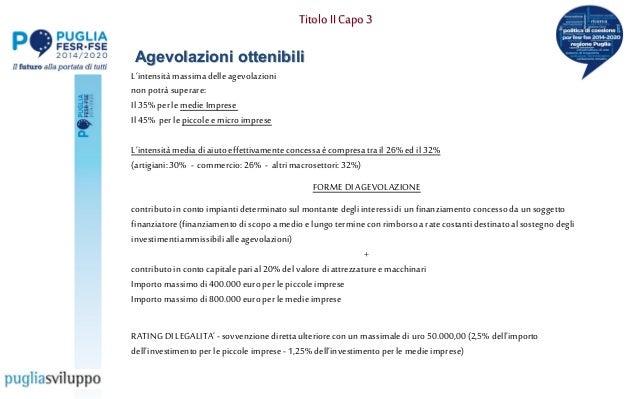 """Titolo IICapo 3 Agevolazioni ottenibili L""""intensitàmassimadelleagevolazioni nonpotràsuperare: Il35% perle medie Imprese Il..."""