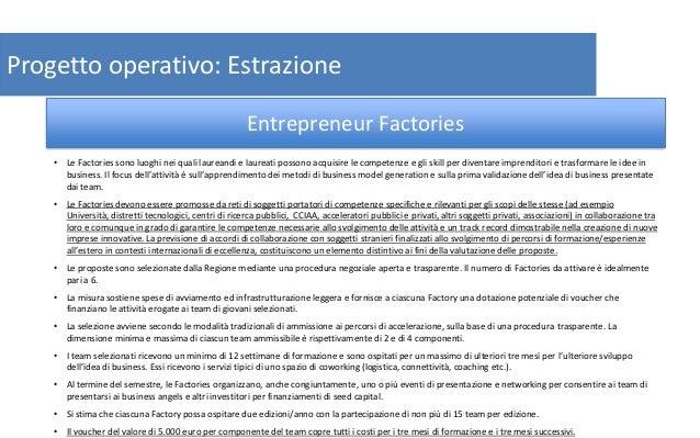 14 Progetto operativo: Estrazione • Le Factories sono luoghi nei quali laureandi e laureati possono acquisire le competenz...
