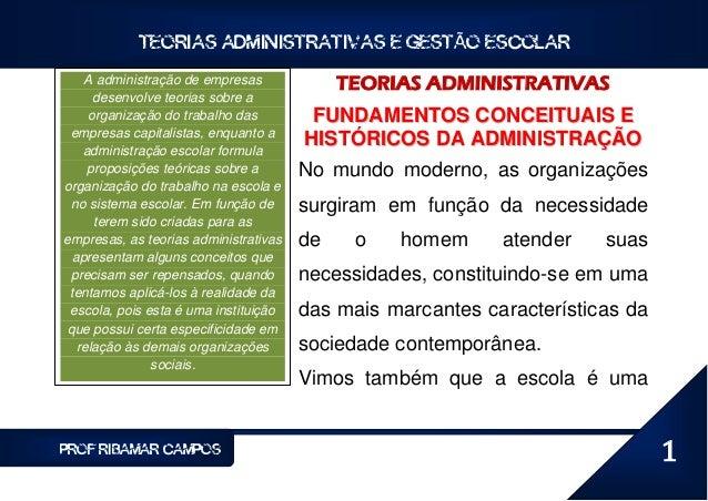 TEORIAS ADMINISTRATIVAS E GESTÃO ESCOLAR    A administração de empresas             TEORIAS ADMINISTRATIVAS      desenvolv...