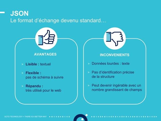 OCTO TECHNOLOGY > THERE IS A BETTER WAY JSON Le format d'échange devenu standard… > Lisible : textuel > Flexible : pas de ...