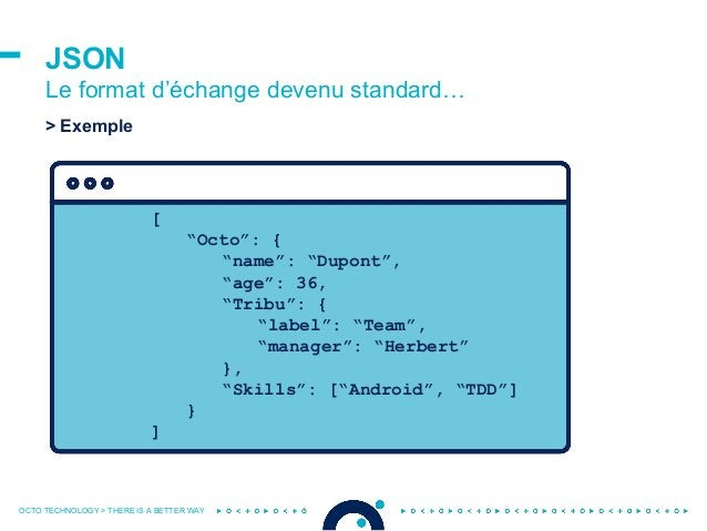 """OCTO TECHNOLOGY > THERE IS A BETTER WAY JSON Le format d'échange devenu standard… [ """"Octo"""": { """"name"""": """"Dupont"""", """"age"""": 36,..."""