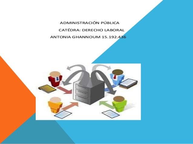 ADMINISTRACIÓN PÚBLICA CATÉDRA: DERECHO LABORAL ANTONIA GHANNOUM 15.192.436