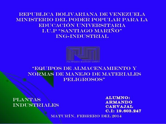 """Republica Bolivariana de Venezuela Ministerio Del Poder Popular para la educación universitaria I.U.P """"SANTIAGO MARIÑO"""" IN..."""