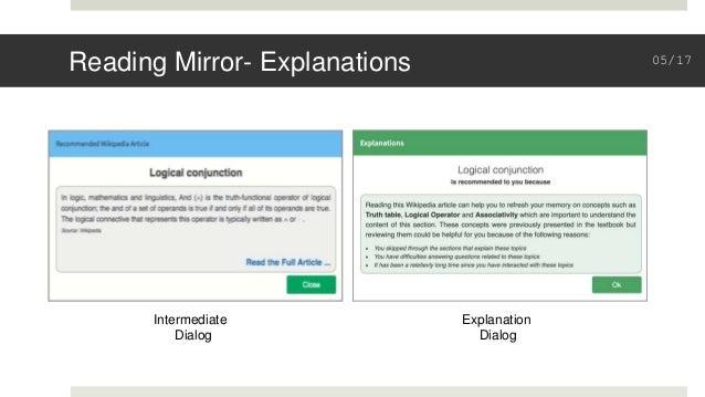Reading Mirror- Explanations Intermediate Dialog Explanation Dialog 05/17