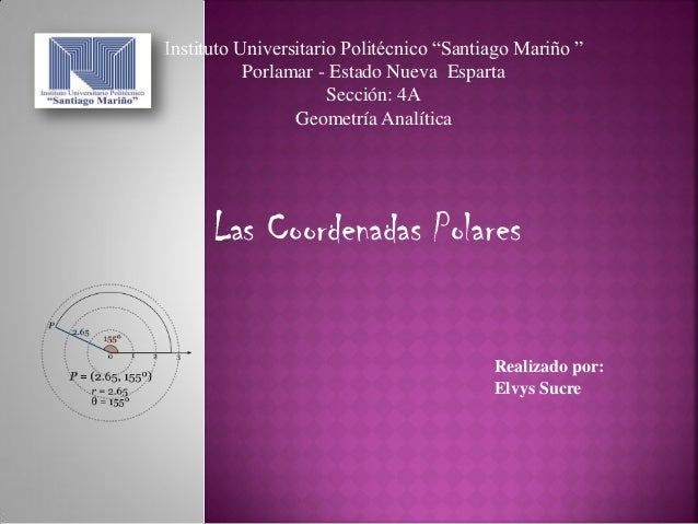 """Instituto Universitario Politécnico """"Santiago Mariño """" Porlamar - Estado Nueva Esparta Sección: 4A Geometría Analítica Rea..."""