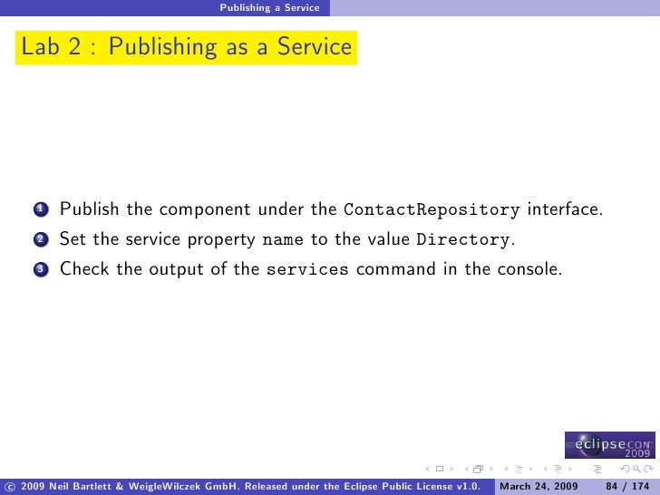 Publishing a Service     Lab 2 : Publishing as a Service              Publish the component under the ContactRepository in...