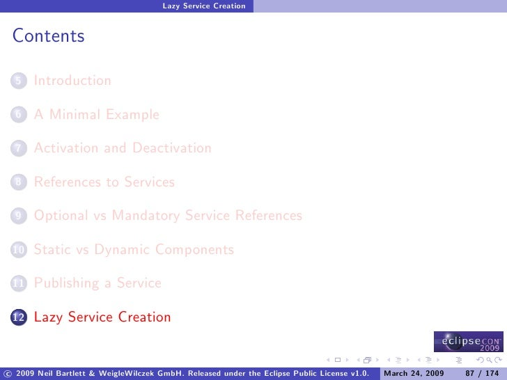 Lazy Service Creation    Contents        Introduction   5         A Minimal Example   6         Activation and Deactivatio...