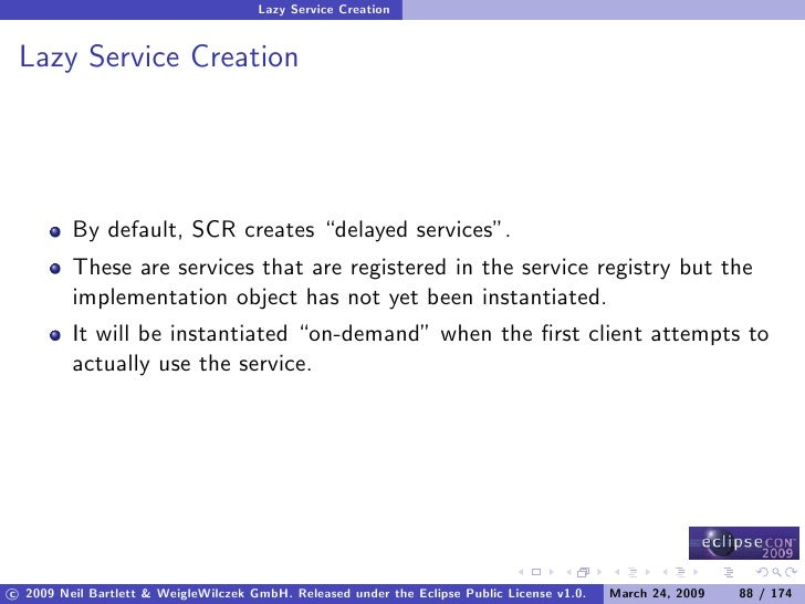 """Lazy Service Creation    Lazy Service Creation              By default, SCR creates """"delayed services"""".          These are..."""