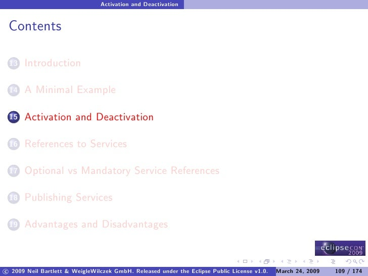 Activation and Deactivation    Contents        Introduction  13         A Minimal Example  14         Activation and Deact...