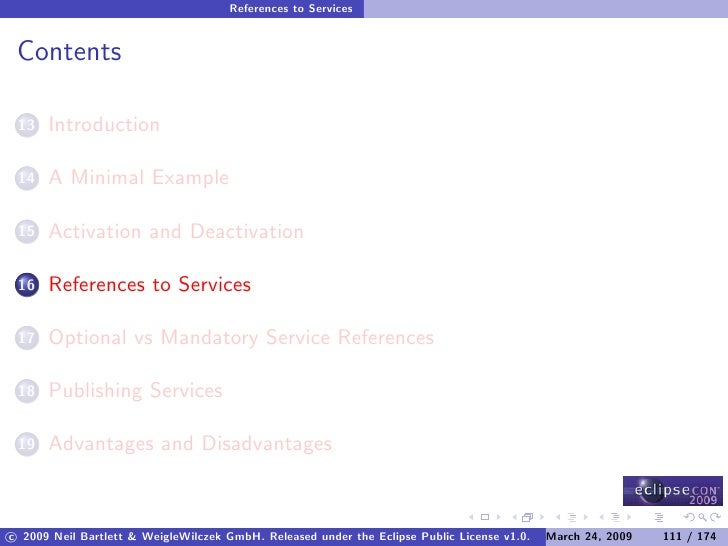 References to Services    Contents        Introduction  13         A Minimal Example  14         Activation and Deactivati...