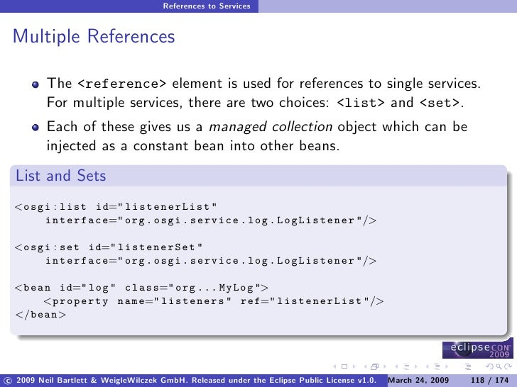 References to Services    Multiple References           The <reference> element is used for references to single services....