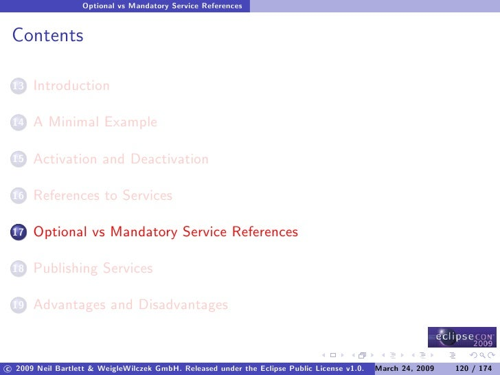 Optional vs Mandatory Service References    Contents        Introduction  13         A Minimal Example  14         Activat...