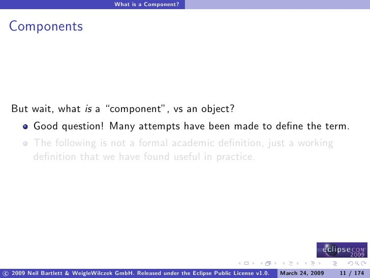 """What is a Component?    Components       But wait, what is a """"component"""", vs an object?          Good question! Many attem..."""