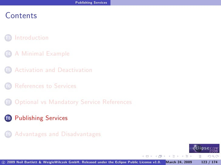 Publishing Services    Contents        Introduction  13         A Minimal Example  14         Activation and Deactivation ...