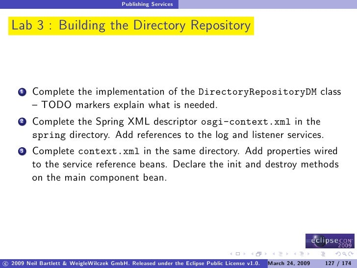 Publishing Services     Lab 3 : Building the Directory Repository             Complete the implementation of the Directory...
