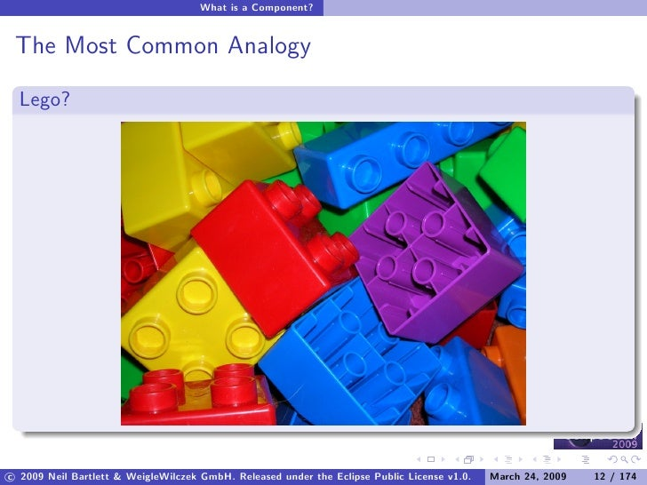 What is a Component?    The Most Common Analogy    Lego?     c 2009 Neil Bartlett & WeigleWilczek GmbH. Released under the...