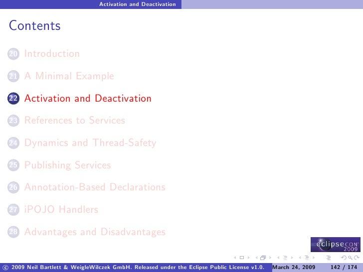 Activation and Deactivation    Contents       Introduction  20        A Minimal Example  21        Activation and Deactiva...