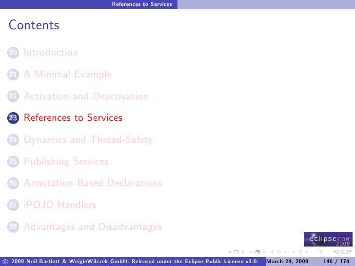 References to Services    Contents       Introduction  20        A Minimal Example  21        Activation and Deactivation ...