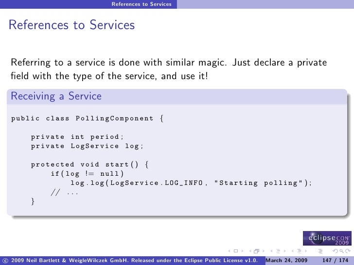 References to Services    References to Services    Referring to a service is done with similar magic. Just declare a priv...