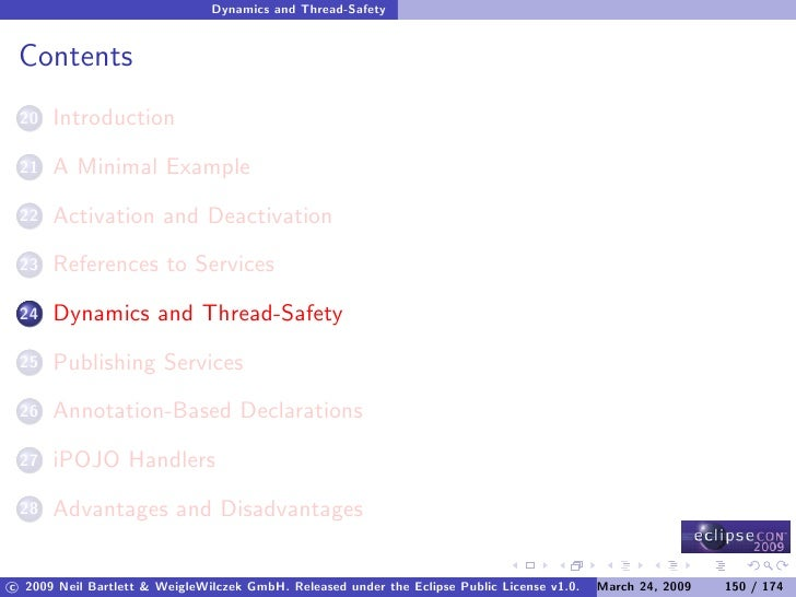 Dynamics and Thread-Safety    Contents       Introduction  20        A Minimal Example  21        Activation and Deactivat...