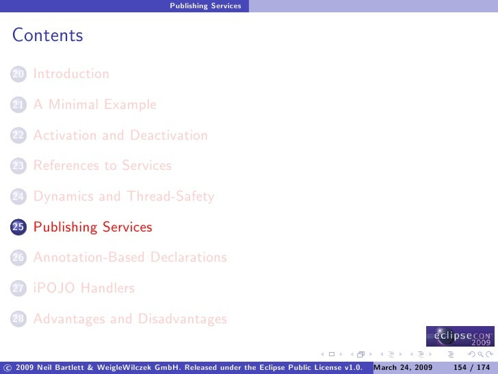 Publishing Services    Contents       Introduction  20        A Minimal Example  21        Activation and Deactivation  22...