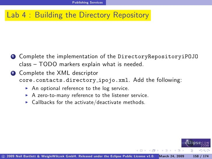 Publishing Services     Lab 4 : Building the Directory Repository             Complete the implementation of the Directory...