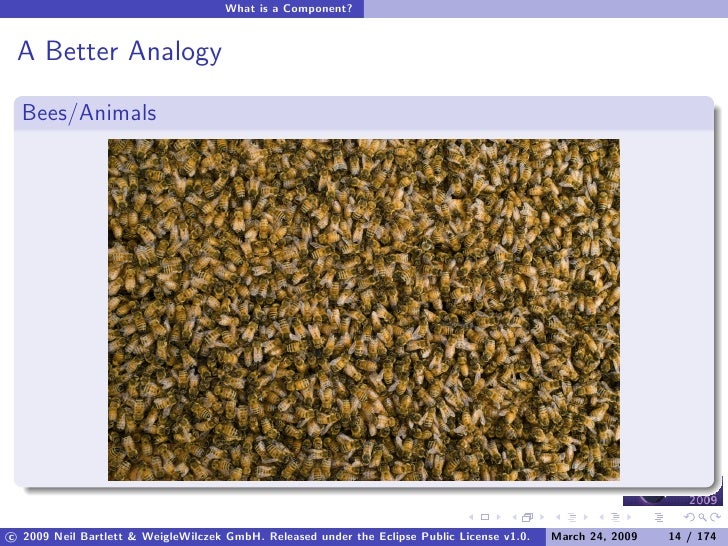 What is a Component?    A Better Analogy    Bees/Animals     c 2009 Neil Bartlett & WeigleWilczek GmbH. Released under the...