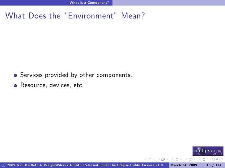 """What is a Component?    What Does the """"Environment"""" Mean?              Services provided by other components.          Res..."""