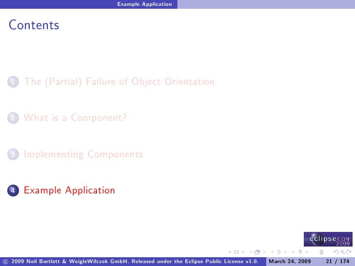Example Application    Contents         The (Partial) Failure of Object Orientation   1          What is a Component?   2 ...