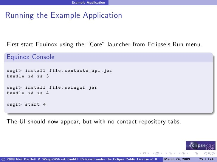 """Example Application    Running the Example Application     First start Equinox using the """"Core"""" launcher from Eclipse's Ru..."""