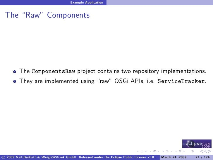 """Example Application    The """"Raw"""" Components              The ComponentsRaw project contains two repository implementations..."""