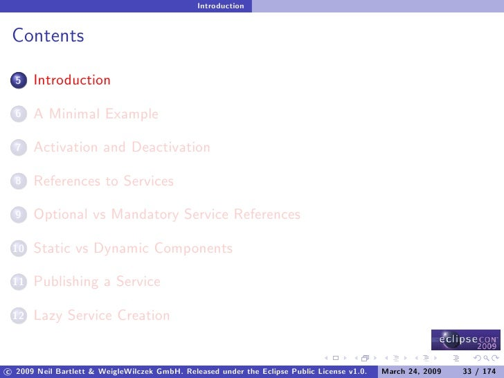 Introduction    Contents        Introduction   5         A Minimal Example   6         Activation and Deactivation   7    ...