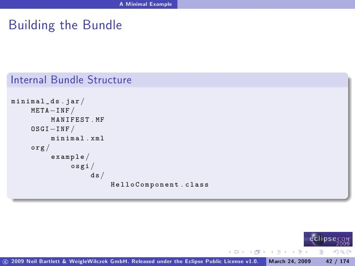 A Minimal Example    Building the Bundle     Internal Bundle Structure   minimal_ds . jar /       META−INF /             M...