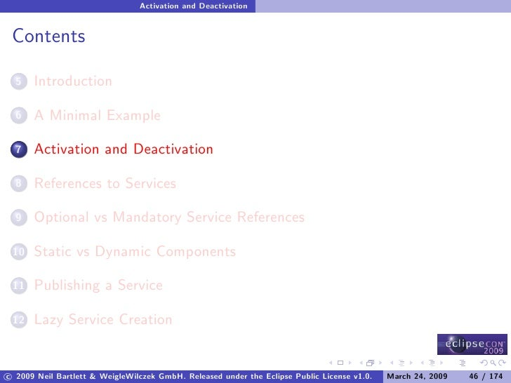Activation and Deactivation    Contents        Introduction   5         A Minimal Example   6         Activation and Deact...