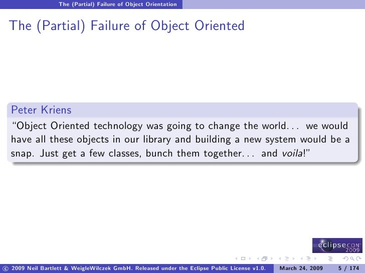 """The (Partial) Failure of Object Orientation    The (Partial) Failure of Object Oriented       Peter Kriens   """"Object Orien..."""