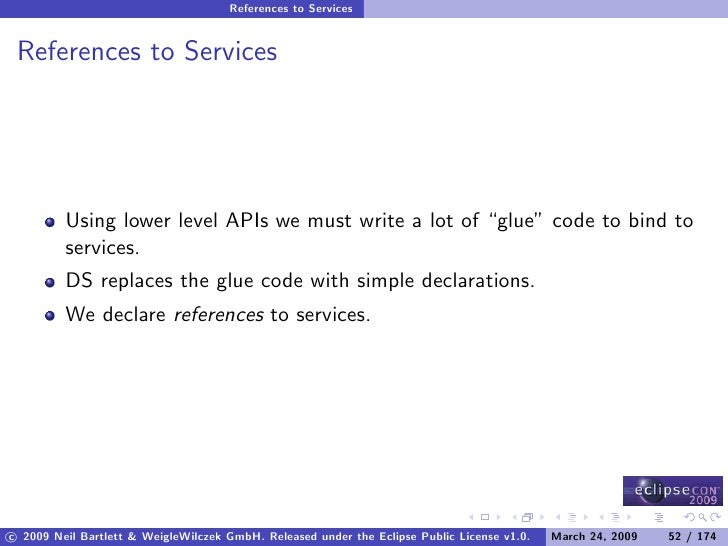 """References to Services    References to Services              Using lower level APIs we must write a lot of """"glue"""" code to..."""