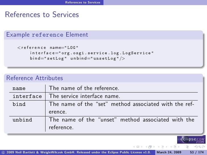 References to Services    References to Services    Example reference Element         < r e f e r e n c e name=quot; LOG q...