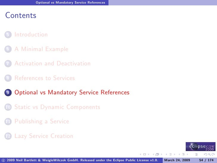 Optional vs Mandatory Service References    Contents        Introduction   5         A Minimal Example   6         Activat...