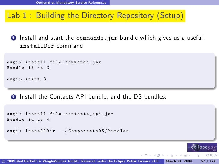 Optional vs Mandatory Service References     Lab 1 : Building the Directory Repository (Setup)           Install and start...