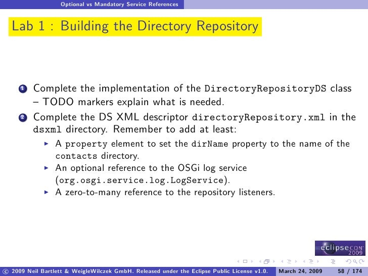 Optional vs Mandatory Service References     Lab 1 : Building the Directory Repository             Complete the implementa...