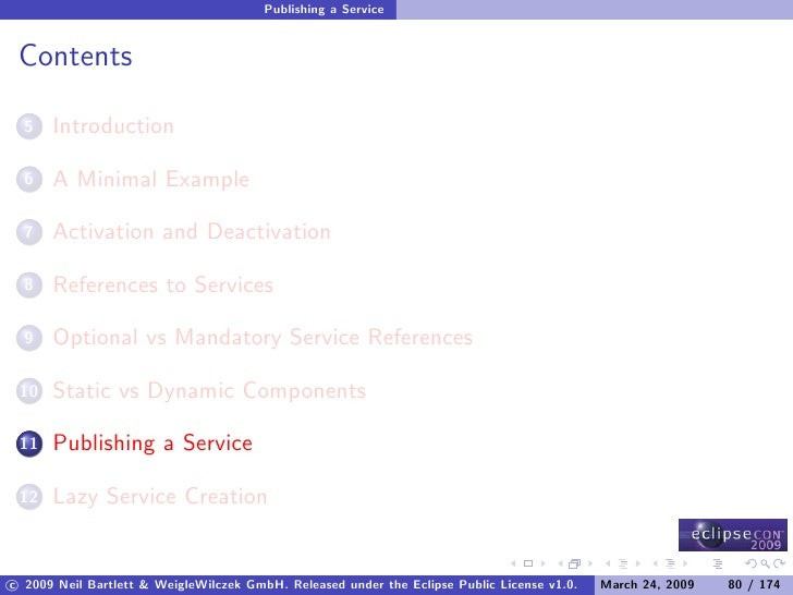 Publishing a Service    Contents        Introduction   5         A Minimal Example   6         Activation and Deactivation...