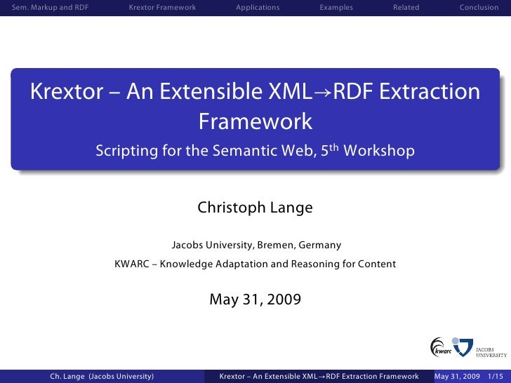 Sem. Markup and RDF            Krextor Framework         Applications          Examples           Related         Conclusi...