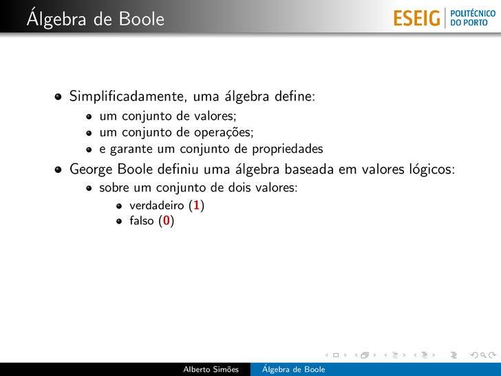 Álgebra de Boole Slide 3
